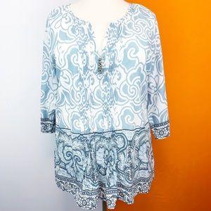 Soft Surroundings Pintuck Print Tunic